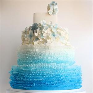 Blue Ombre Hydrangea Cake
