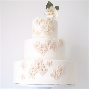 Ivory Applique Flowers Cake