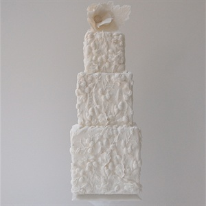 White Square Textured Cake