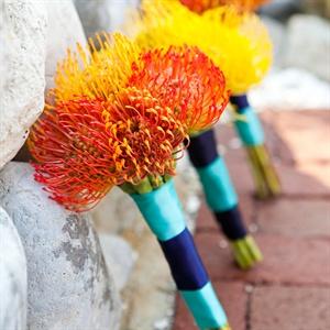 Pincushion Protea Bridesmaid Bouquets