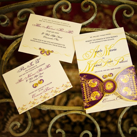 Purple and Yellow Invitations