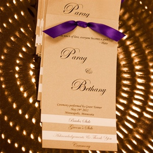 Purple and Gold Wedding Programs
