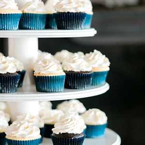 Blue and White Cupcake Display