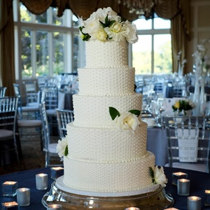 White Swiss Dot Wedding Cake