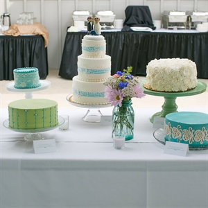Turquoise and White Wedding Cakes