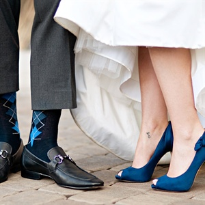 Blue Peep-Toe Bridal Shoes