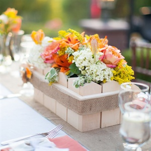 Wooden Flowerbox Centerpieces