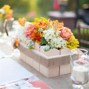 Wooden Flowerbox Centerpieces