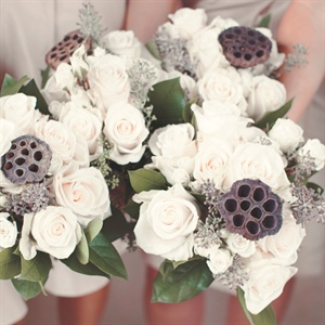 Rose and Lotus Pod Bridesmaid Bouquets
