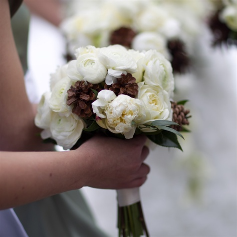 Ranunculus and Pinecone Bridesmaid Bouquets