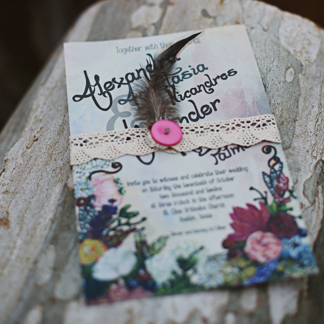 The bride, who was an art major in college, hand-painted the design for the stationery.