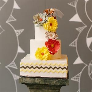 Vintage Style Chevron Wedding Cake