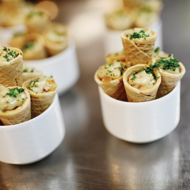 Guests enjoyed tasty creations like these chicken-and-waffles cones with a bacon-maple-syrup glaze as a late night snack.