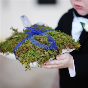 Jenny and Steve's ring bearer carried a moss-covered ring pillow with a navy ribbon.