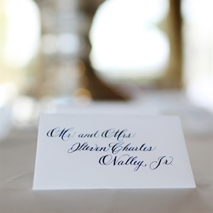 Classic Navy and White Escort Cards