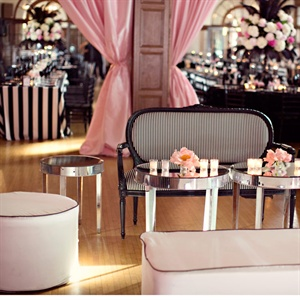 The nautical theme went totally glam in the lounge area. Katherine and Graham decorated the space with chic black-and-white furniture, pops of pink and mirror accents.