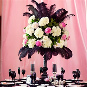 Feather and Floral Centerpieces