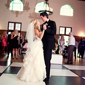 "The couple took to the black-and-white-checkerboard dance floor to ""In My Life"" by The Beatles."
