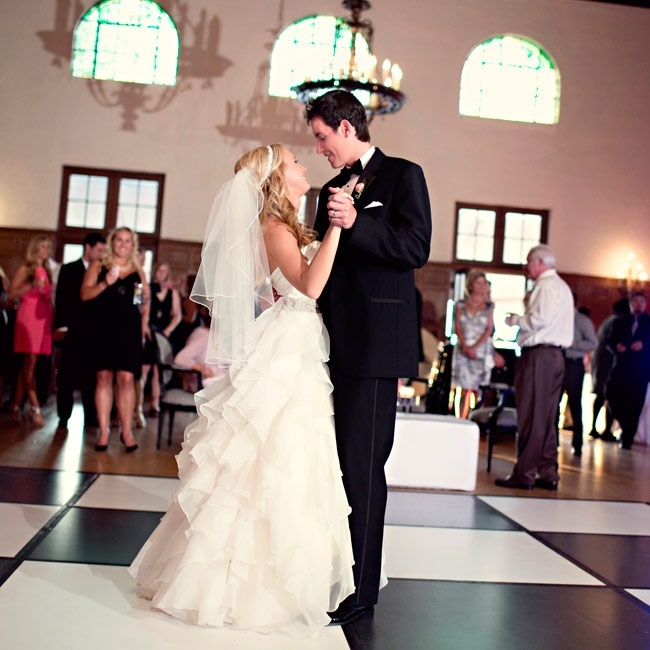 """The couple took to the black-and-white-checkerboard dance floor to """"In My Life"""" by The Beatles."""