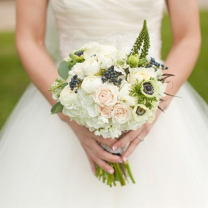 Cream Bridal Bouquet with Blueberries
