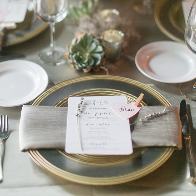 "The color palette of pastels and neutrals gave the wedding an elegant, understated feel. ""We loved the way these soft shades worked together in everything from the flowers to the bridesmaid dresses to the table settings,"" says Rachel."