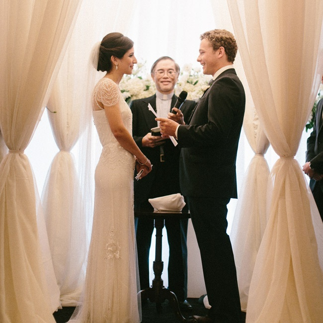 """Reverend Peter Wan, the husband of Rachel's childhood nanny, led the nondenominational ceremony. """"Luke and I loved working with him, because he let us participate in writing the entire ceremony and knows us so well,"""" says Rachel."""