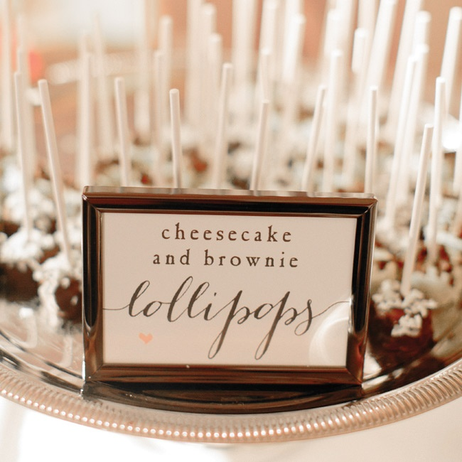 Guests enjoyed sweet and savory late-night treats as the reception came to a close. The cheesecake and brownie lollipops were a favorite.