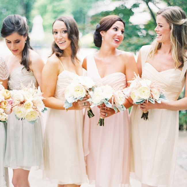 Rachel's eight bridesmaids each have such different personalities and styles, she didn't want to confine them to one dress. So she chose three colors, the brand, the length, the fabric, and then let them choose the rest.