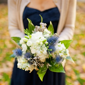 White and Blue Bridesmaid Bouquets