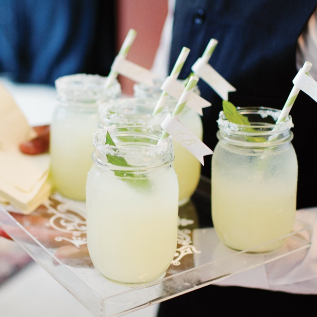 A touch of the south included the lemonade being served in Mason jars sparkling with a white sugar rim, mint sprig, and personalized monogramed straws.
