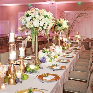 Gold, Cream & Lavender Reception Decor