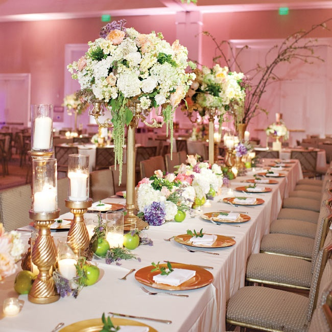 """""""The overall look and feel of our wedding was Southern elegance,"""" Kady recalls. The plantation-style Belo Mansion's large ballroom was the perfect fit."""