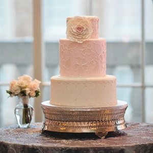 Feminine Pink and White Cake