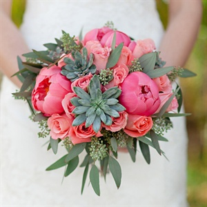 Peony, Rose and Succulent Bouquet