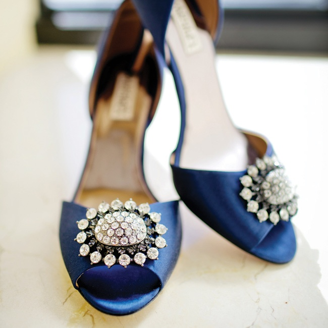 "The shoes Emily wore for the Catholic service (a pair of Badgley Mischka peep toes) were her ""something blue."""