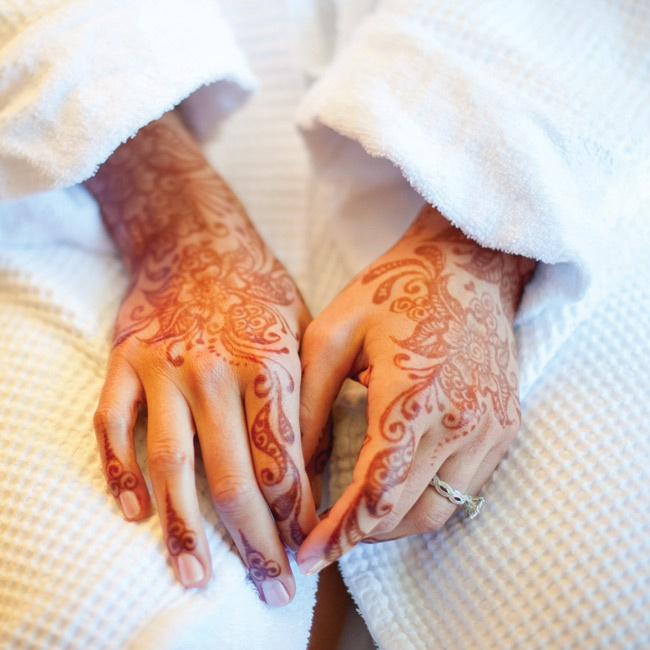 The traditional mehndi ceremony, where the bride's