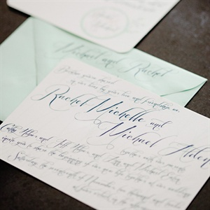 Light Green and Navy Invitations