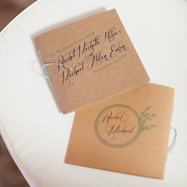 "Rachel made these as well, and used kraft paper for the covers, ivory/cream paper for the insides and tied with seafoam twine. ""I had intended to do something simpler, but I had been so elaborate with everything else, I couldn't skimp on the programs!"" says Rachel."
