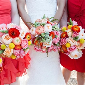 Red and Pink Bridesmaid Bouquets