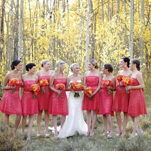 Strapless Coral Bridesmaid Dresses