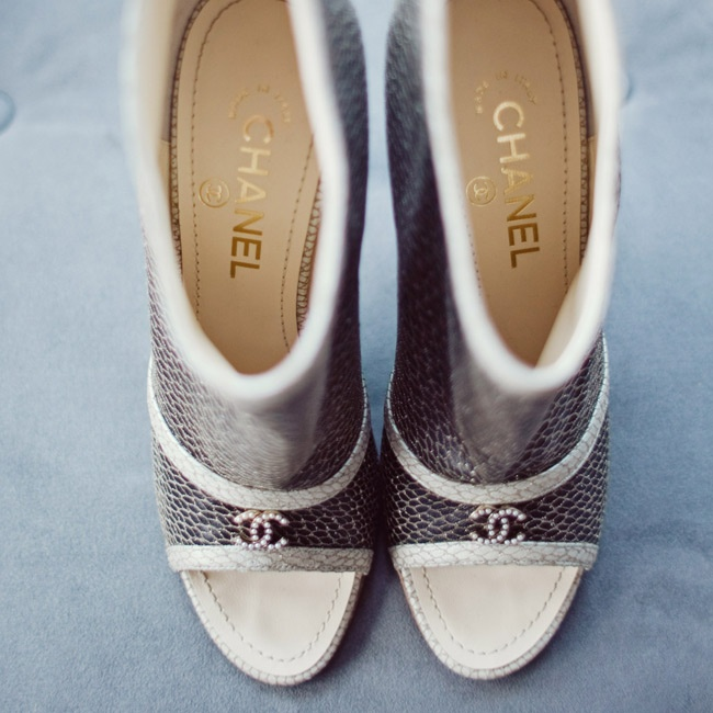 The bride wore Chanel booties for the ceremony but changed into a pair of sandals she designed for the reception.