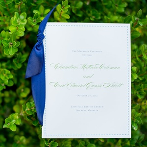 White and Blue Wedding Program