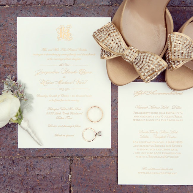 Elegant details—Brooke's glam shoes, the classic invitations and Kevin's simple boutonniere—set the mood.