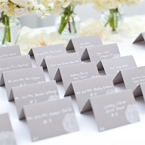 Gray Tented Escort Cards
