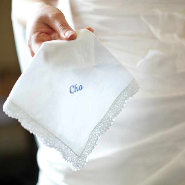 Jen carried a handkerchief embroidered with her maiden name.