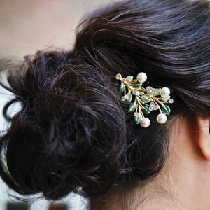 Low Updo with Branch Hair Accessory
