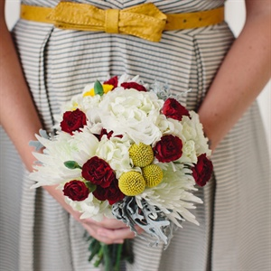 Modern White, Red and Yellow Bridesmaid Bouquets