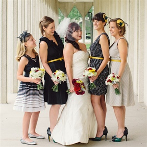 Black and White Patterned Bridesmaid Dresses
