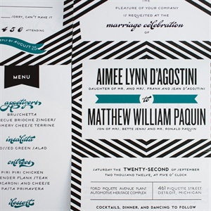 Black and White Chevron Invitation Suite