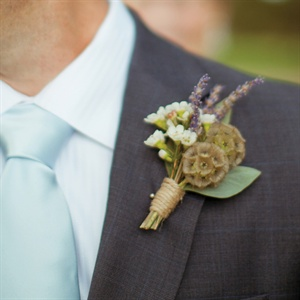 Scabiosa and Waxflower Boutonniere
